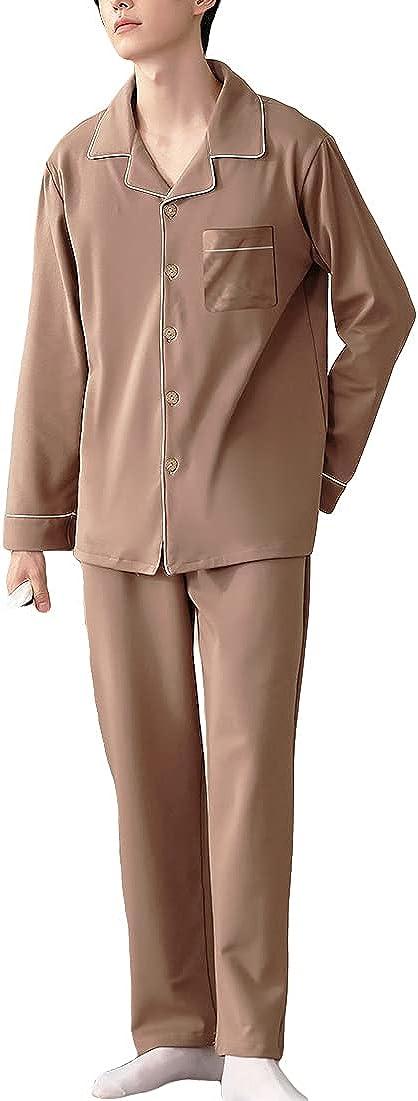 Wowcarbazole Men's Cotton Pajamas Set Button Down Sleepwear Pjs Long Sleeve Top with Pant Loungewear