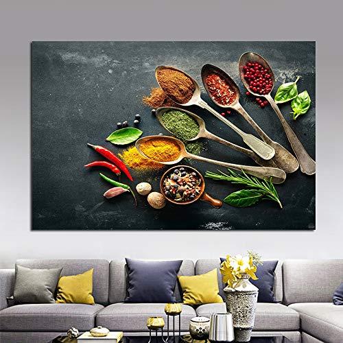 N / A Rahmenlose Malerei Bunte Küchenlöffel Gewürze Moderne Ölgemälde Leinwand Bild Dekoration RestaurantZGQ9043 20x30cm
