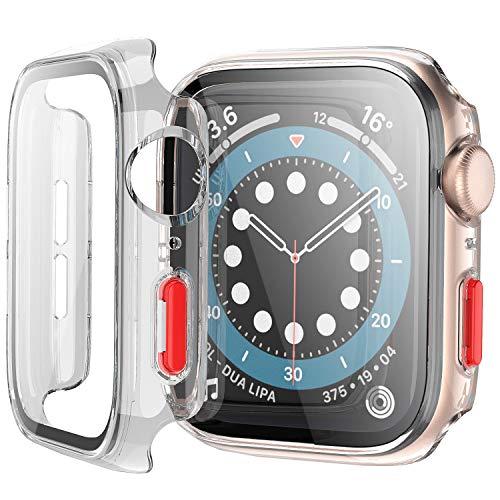 Bescove Transparente Funda para Apple Watch 42mm Serie 3/2 con Protector de Pantalla Cristal Templado,Carcasa Rigida con Vidrio Templado Pelicula para iWatch Proteccion Completo
