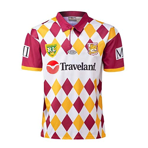 DDsports Brisbane Broncos, Rugby-Trikot, Jahrgangsausgabe 1995, Neuer Gestickter Stoff, Swag Sportbekleidung (L)