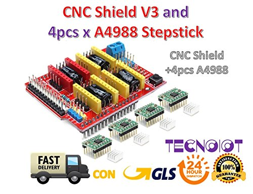 TECNOIOT CNC Shield V3 Expansion Board + 4pcs A4988 (Green Color) Stepper Motor Driver for 3D Printer