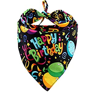 MIAPETTB Dog Birthday Bandana Triangle Bibs Scarf Accessories Black