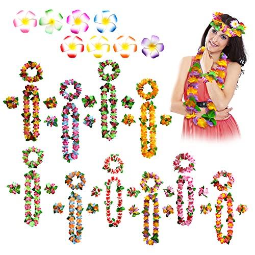 Hawaianas Guirnalda Collar Hawaiano Flores Collares Disfraz Hawaiana Mujer Tropical Hawaiian Luau Hawaiian Leis Fiesta Hawaiana Decoracion Collares Flores Hawaianas Guirnalda De Flores Lei Luau, 48Pcs