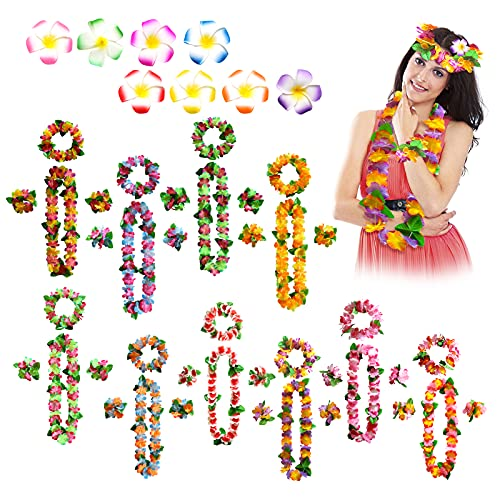 Ghirlande Hawaiane Ghirlanda Di Spiaggia Collana Di Ghirlande Collana Hawaiana Di Fiori Corone Hawaiane Set Di Ghirlande Hawaiane Collana Hawaiana Tropicali Festa Hawaiana Party Hawaiian Leis, 48Pcs
