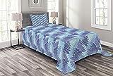 ABAKUHAUS Blätter Tagesdecke Set, Winter Composition Fern, Set mit Kissenbezügen Sommerdecke, für Einzelbetten 170 x 220 cm, Nachtblau Hellblau Blau
