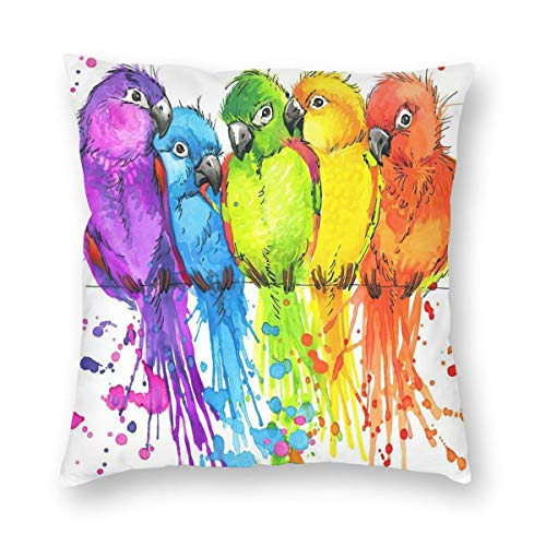 WAZHIJIA Cute Parrot Decorative Throw Pillow Covers 18 X 18 Inch,Watercolor Birds Illustration Cotton Linen Cushion Cover Square Pillow Cases for Car Sofa Home Decor