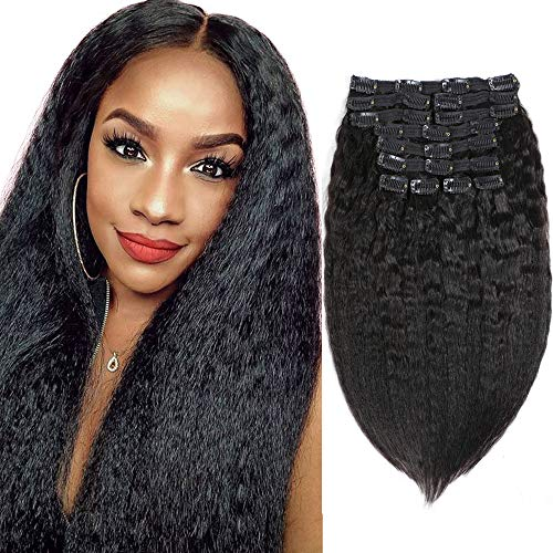 Sibaile 20 Inch Kinky Straight Clip Ins,8A Real Double Weft Thick Hair Extensions for Women, Kinky Straight Clip in Human Hair Extensions, Natural Black Color 120g 12Pcs/Set with 25 Clips