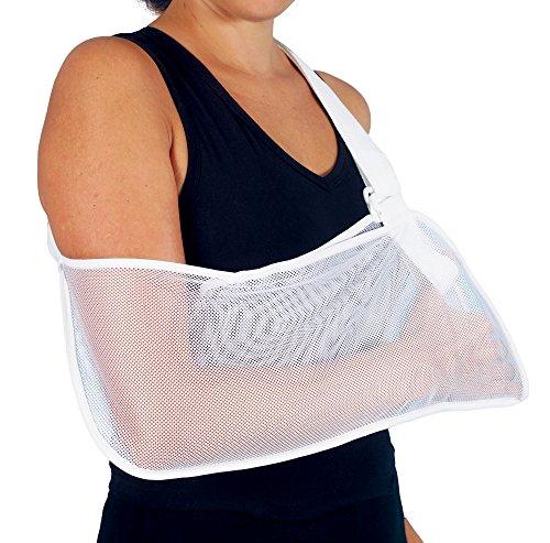 Armschlinge, Nylon, bequem, atmungsaktiv, fixiert den Arm in die gewünschte Ruheposition, bietet Unterstützung und ermöglicht eine Umpositionierung der Arme nach einer Armverletzung. Passend für den rechten oder linken Arm und in zwei Größen erhältlich.