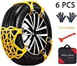 ACUMSTE Car Snow Chains, Emergency Anti Slip Snow Tire Chains for Most Cars/SUV/Trucks,Winter Universal Security Chains Tire Width 6.5-10.43'',100% TPU (Yellow-6PCS)
