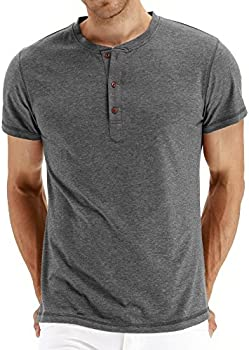 Nitagut Mens Casual Front Placket Long/Short Sleeve Henley T-Shirts