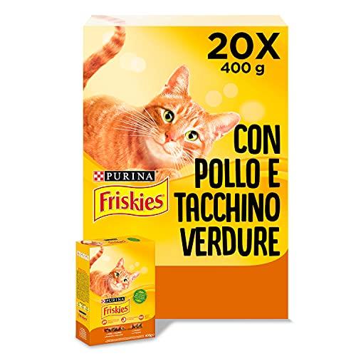 Purina Friskies Crocchette Gatto Adult con Pollo, Tacchino e Verdure , 20 Confezioni da 400 g Ciascuna, Peso Totale 8 kg