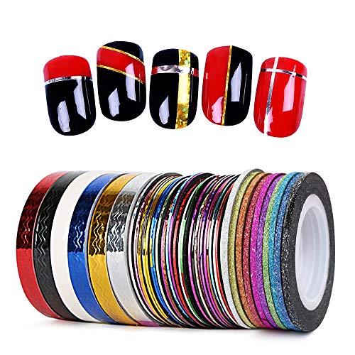 46 Rollos Cintas Uñas Adhesiva de Línea Nail Striping Tape 3 Estilos Mezclados con Glitter Brillo Onda para Decoración de Uñas Accesorios DIY Diseño Arte de Uñas Multicolor