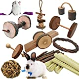 Dbeans Flourithing Guinea Pigs Toys, 10 Pack Natural Wooden Rabbit Toys, Bunny Toys for Exercise Molar Teeth Care, Best Choose for Gerbils, Rats, Birds, and Other Small Pets