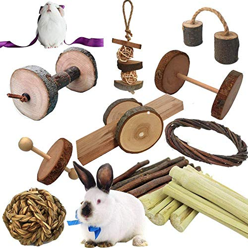 Guinea Pigs Toys, Natural Wooden Rabbit Toys, Bunny Toys for Exercise Molar Teeth Care, Best Choose for Gerbils, Rats, Birds, and Other Small Pets