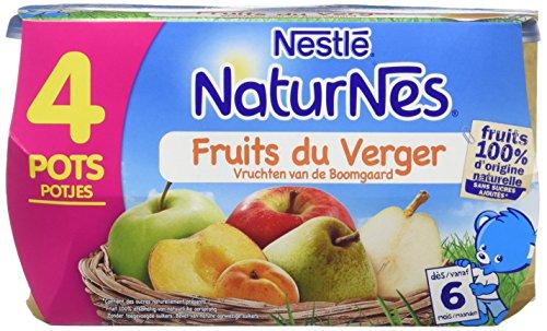 NESTLE NATURNES Compotes Bébé Fruits du Verger -Lot de 4 -Dès 6 mois