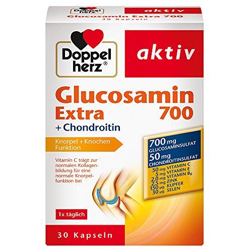 Doppelherz Glucosamin 700 Extra mit Chondroitin – Mit Vitamin C für die normale Funktion von Knorpel und Knochen – 1 x 30 Kapseln