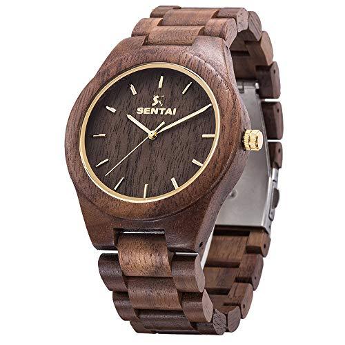 orologio in legno da polso uomo Sentai Orologio Legno Uomo Naturale Orologio Analogico Al quarzo Orologi da Polso Elegante in Legno