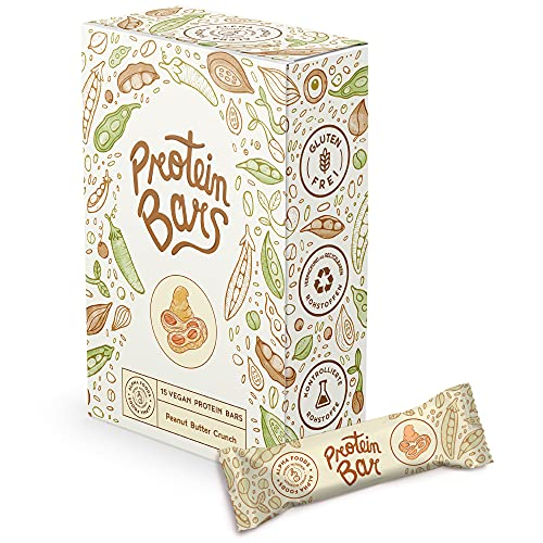Vegan Protein Bars 15 x 55g - Peanut Butter Crunch - Saftige vegane Proteinriegel ohne Zucker - Low Sugar, High Protein mit Schokolade - Box mit 15 Riegeln