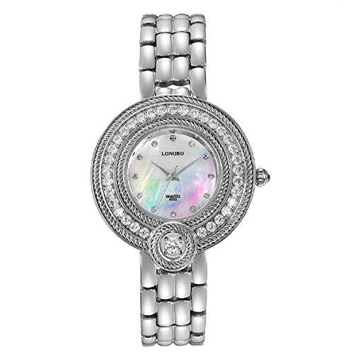 Reloj de las mujeres de acero inoxidable Fashion con tachuelas de cristal hecho a mano Vintage reloj de pulsera para mujer, plata (Varios)