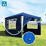 Hengda Pavillon 3x3m Wasserdicht Gartenzelt Bierzelt Blau UV-Schutz Partyzelt mit 4 Seitenteilen für Garten Party Familientreffen