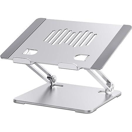 Hiyoo PCスタンド ノートパソコンスタンド タブレットスタンド 無段階高さ調整可能 高さ・角度を自由に調節可能 折りたたみ式 収納可能 持ち運び便利 滑り止め アルミ合金製 放熱性 10-17.3インチに対応 ノートPC/タブレットなどに対応スタンド 在宅勤務 リモート授業