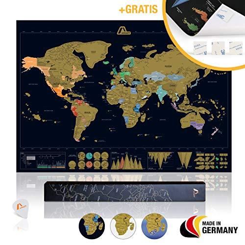 *Amazy Weltkarte zum Rubbeln XXL inkl. Rubbelchip + Gratis-Packliste (PDF) – Große Rubbel-Landkarte als schöne Erinnerung an bisherige Reisen | Made in Germany (Schwarz | 84 x 59 cm)*