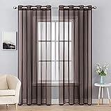 MIULEE 2 paneles de color sólido café chocolate transparente cortinas elegantes ojales en la parte superior de la ventana paneles de gasa / cortinas / tratamiento para el recámara sala de estar (54...