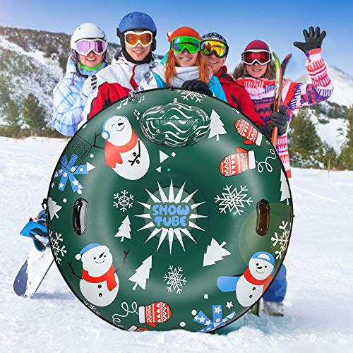 Extra Large 50 Inch Snow Tube with Backrest No More Popped with Thicker K80 Military Grade Material Inflatable Snow Sled for Kids and Adults Durable Sledding Tubes Heavy Duty Inflatable Snow Tube