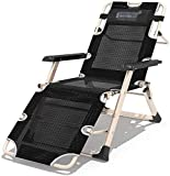 YZPDD Chaise Pliante Camping, Chaise de Plate-Forme, réglable Zero Gravity Pliant inclinable avec Accoudoirs for Sun Beach Camping Jardin Terrasse Fauteuil Inclinable Pause déjeuner Lazy Couch Retour