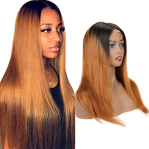 1B/30 Ombre Color 4x4 Lace Front Wigs Human Hair for Women Straight Brazilian Virgin Lace Closure Human Hair Pre Plucked With Baby Hair Elastic Bands 150% Density (14inch, 1B/30)