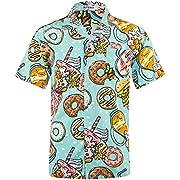 Men's Hawaiian Shirt Short Sleeve 4 Way Stretch Regular Fit Floral Tropical Shirts (M, Hw027-doughnut)