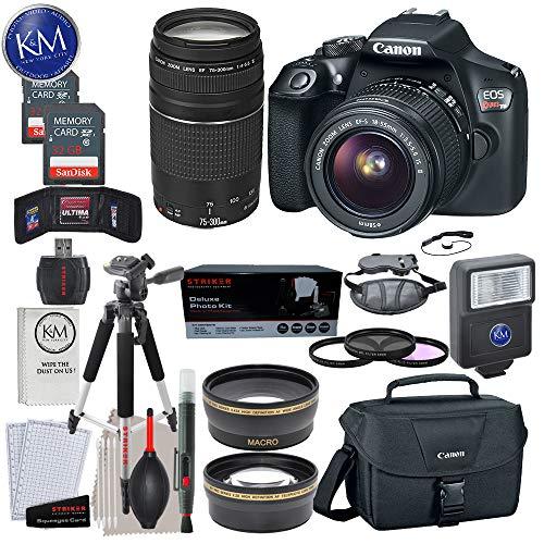Canon EOS Rebel T6 DSLR Camera w/ EF-S 18-55mm Lens + EF 75-300mm Lens + 2 X 32 GB Memory + Premium Accessory Bundle