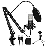 Condenser Microphone,UHURU Computer Gaming Microphone Kit with 25mm Large Diaphragm Adjustable Scissor Arm Stand Shock Mount for Singing Recording Gaming Podcasting Streaming YouTube(UM-925)