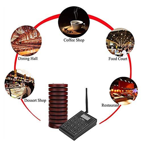 Pager-System, restaurant wireless pager-oproepsysteem voor 1 toetsenbord zender + 10 ontvangers (100-240V), afstandsbediening, stijlvol uiterlijk, sterk en robuust, Ue