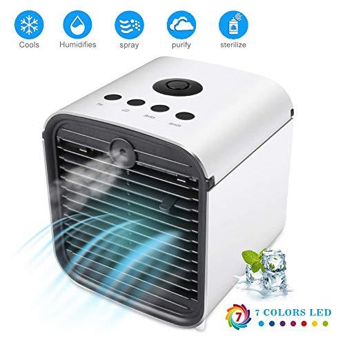 Autotipps 4 in 1 Persönlicher Luftkühler mit wasserkühlung, Mini Mobile Klimageräte, 3 Geschwindigkeiten, Multifunktionale Ventilator,Luftbefeuchter, Luftreiniger, Aromadiffuser für Büro, Schlafzimmer