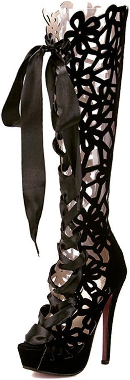 Lh  yu kvinnor Sandals kvinnor kvinnor kvinnor Peep Toe Boot skor Peep -Toe stövlar Start Hing Pocket Sandals Gladiator Belts Butterfly Nekslips  noll vinst