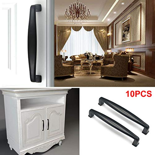 Drenky 10PCS aluminium legering zwarte deur keuken kast lade handvat Pull kabinet handvat met schroeven