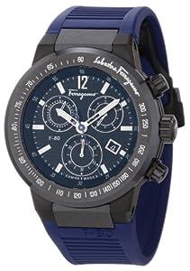 Salvatore Ferragamo Men's F55LCQ6809 SR04 F-80 Ceramic Tachymeter Bezel Sapphire Crystal Blue Rubber Chronograph Date Watch