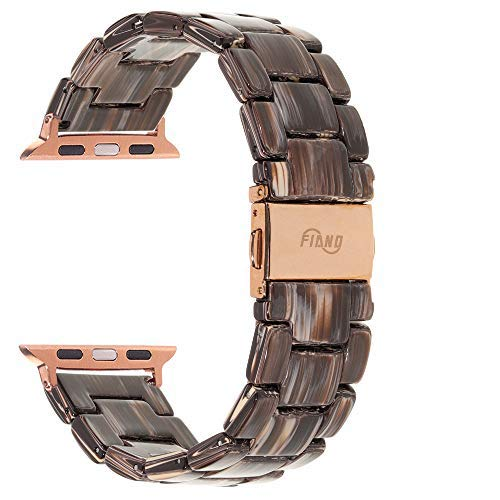 Resin Watch Band,FIANO Fashion Replacement Wristband Strap Compatible with Apple iWatch Series 6/5/4/3/2/1 with Stainless Steel Buckle Strap Women Men(Coffee Wood Grain, 38mm)