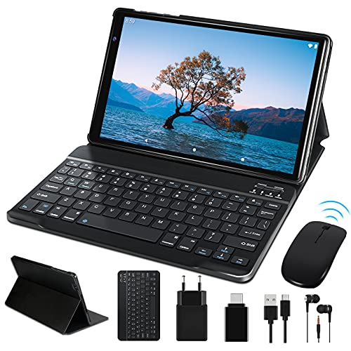 FACETEL Tablet 10 Pollici Android 10.0 Tablet con 4GB RAM 64GB ROM Espanso 128GB, Otto core Tablets PC con Tastiera e Mouse, 5.0+8.0 MP Telecamera, Certificato Google GMS, Wifi, Bluetoot - Grigio