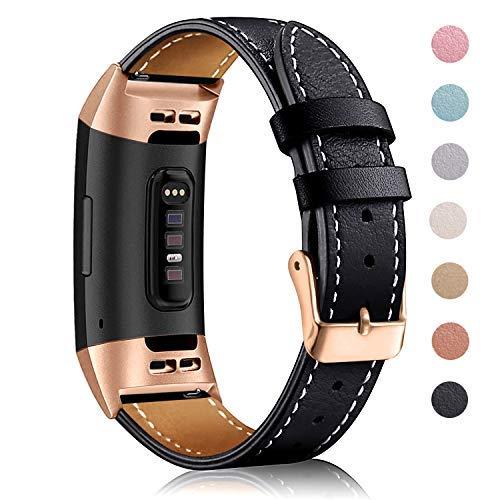 Mornex für Charge 3 Armband,Echte Leder 3SE Armbänder, Unisex Fitness-Zubehör Ersatzband mit Metall Konnektoren(5,5