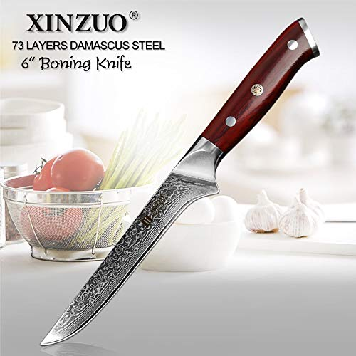 Best Quality Kitchen Knives 6 inch Boning Fish Knife 73 Layers Damascus Steel Razor Sharp Kitchen Knife Kitchen Tools Fillet Knife Rosewood Handle
