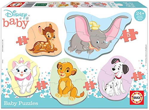 Educa - Animales Disney 5 Puzzles Orogresivos de 3 a 5 Piezas, Multicolor (18591)