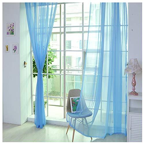 Vorhang Gardinen Reine Farbe Tüll Türfenstervorhang Drapieren Panel Schiere Schal Volants Dekorative und Lichtdurchlässigkeit Schutz der Privatsphäre für Zimmer (K 2X1M)