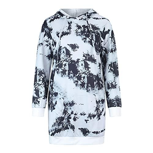 URIBAKY - Maglietta da donna con cappuccio, stampata, casual, a maniche corte, taglia grande, con stampa, Colore delle foto, XL
