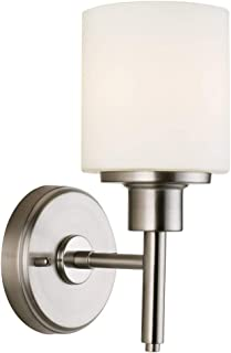Design House 556183 Aubrey Transitional 1 Indoor Wall Light Dimmable Frosted Glass for Hallway Foyer Bathroom, Satin Nickel, 1-Light Light