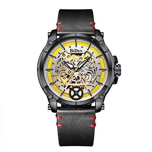 Armbanduhr,Mode Trend wasserdichte Quarzuhr, Schwarze Schale Gelbe Nudeln