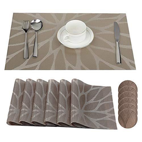 DONGQI 6 Sets de Table + sous-Verres Tapis de Table en Vinyle Antidérapants Napperons PVC Lavables Sets de Tables Salle à Manger (45x30cm)