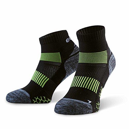 Eono - Running-Socken für Herren in Schwarz-Grün, Größe 43-46