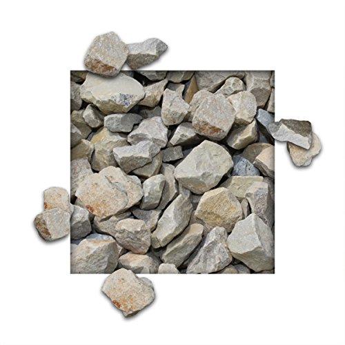 25 kg Kalksteinsplitt Gelb-Grau Gartensplitt Ziersplitt Deko Kalkstein Dekoration Splitt Körnung 16/32 mm